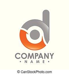 d, ビジネス, technology., ベクトル, デザイン, 手紙, ロゴ, 企業である, template., カラフルである, vector.