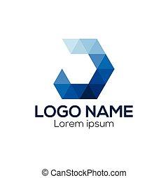 d, ベクトル, 手紙, origami, ロゴ, template., テンプレート