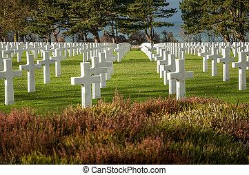 d, 墓地, 着陸, アメリカ人, ノルマンディー, 軍, の間, 落ちている, 日