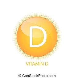 d, 太陽, ビタミン, イラスト, ベクトル, アイコン