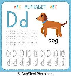 d., 子供, kindergarten., アルファベット, 練習, 執筆, worksheet, 手紙, 追跡, 練習, 幼稚園