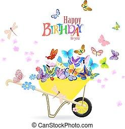 d, 招待, 蝶, 一輪手押し車, あなたの, カード, 幸せ