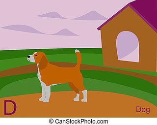 d, 犬, アルファベット, 動物