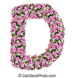 d, 花, アルファベット, 隔離された, クリッピング道, 白