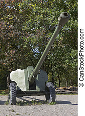 D-44 divisional anti-tank gun in Victory Park in the city of...