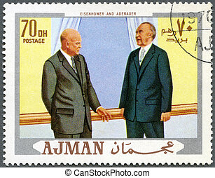 d., adenauer, ajman, dwight, (1890-1969), bélyeg, -, 1970, józsef, nyomtatott, elnök, hermann, (1876-1967), konrad, cirka, eisenhower, 1970:, látszik