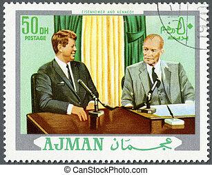 d., ajman, (1917-1963), (1890-1969), kennedy, bélyeg, cirka, -, dwight, 1970, nyomtatott, elnök, jános, látszik, eisenhower, f., 1970: