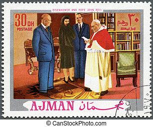 d., ajman, cirka, pápa, (1890-1969), bélyeg, xxiii, -, dwight, 1970, nyomtatott, elnök, jános, látszik, eisenhower, 1970:, (1881-1963)