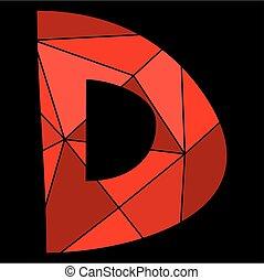 D, alfabeto, aislado,  vector, negro, Plano de fondo, carta, rojo