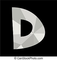 D alphabet letter isolated on black