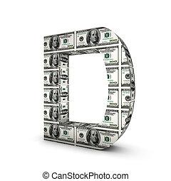d, alphabet, note, dollar, isolé, white., lettre