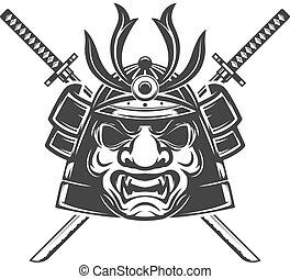 d, arrière-plan., masque, épées, isolé, samouraï, traversé, blanc