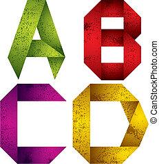 d., c, b, lettres, alphabet, origami