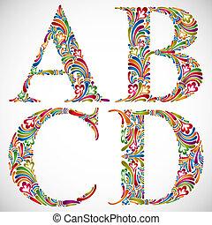 d., c, b, lettres, alphabet, orné