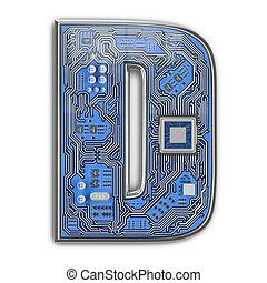 d., circuito, alfabeto, isolato, ciao-tecnologia, white., lettera, digitale, style., asse