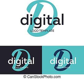 d, concept., logotype, ベクトル, 手紙, デジタル, ロゴ, logo., template.