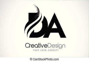 d, conception, lettres, da, noir, swoosh, brosse, créatif