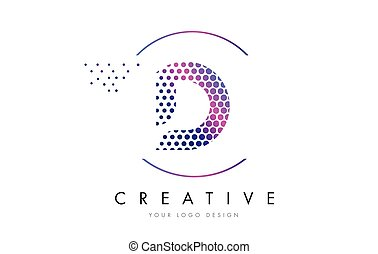 d, cor-de-rosa, magenta, pontilhado, bolha, letra, logotipo,...