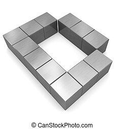 d, cubique, métal, lettre