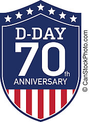 D-Day Anniversary badge - American badge for the D-DAY 70th...