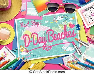 D-Day beaches on map, top view of colorful travel essentials...