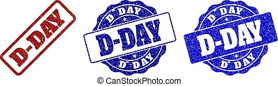 D-DAY Scratched Stamp Seals - D-DAY grunge stamp seals in...
