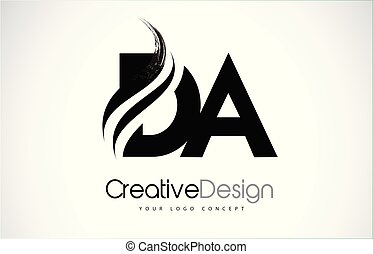 d, diseño, cartas, da, negro, swoosh, cepillo, creativo