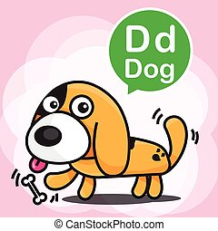 D Dog color cartoon and alphabet for children to learning vector illustration eps10