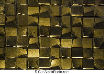 d, doré, cubes, 3