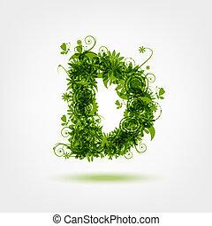 d, eco, desenho, letra, verde, seu