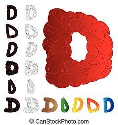 d, ensemble, elements., lettre, floral, rempli