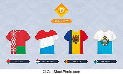 d, fútbol, grupo, leagua, belarus, bandera, 2:, equipos, ...