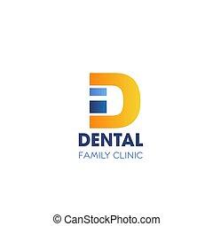 d, familie, dental, klinik, vektor, brief, ikone