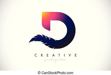 D Feather Letter Logo Icon Design With Feather Feathers Creative Look Vector Illustration