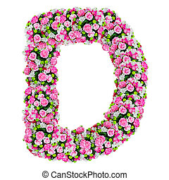 d, flor, alfabeto, isolado, caminho cortante, branca
