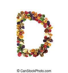 d, flor, alfabeto, isolado, secado, fundo, branca
