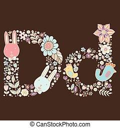 d., floral, luminoso, letra, elemento