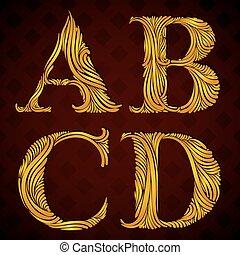 d., floreale, c, b, lettere