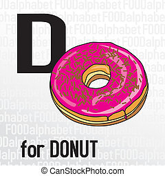 D for donut, the food alphabet