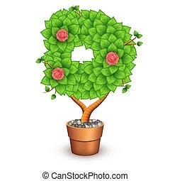 d, formulaire, arbre, isolé, pot., lettre, argile, fleurs