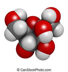 (d-fructose), high-fr, molecule., componente, azúcar, fruta...