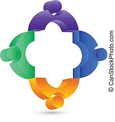 d, gente, 3, conexión, trabajo en equipo, logotipo