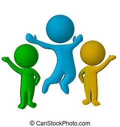 d, gente, 3, plano de fondo, logotipo, feliz