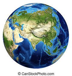 d, globe, rendering., asie, réaliste, 3, la terre, vue.