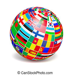 D globe sphere with flags of the world on white