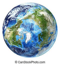 d, globo, pole)., artico, un po', interpretazione, clouds., ...