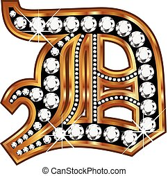 D gold and diamond bling