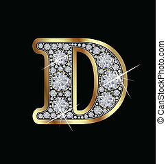 D gold and diamonds letter vector collection