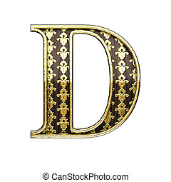 d golden letter 3d illustration