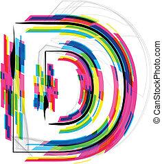 d., illustration., ilustração, vetorial, letra, fonte